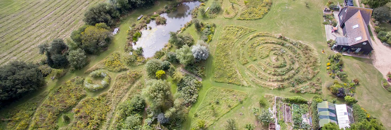 Aerial view of The Little Barn and gardens